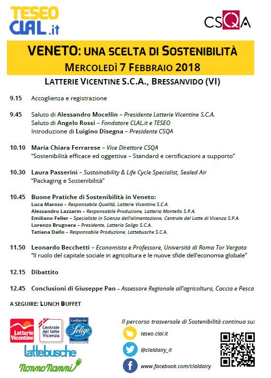CLAL.it -La filiera lattiero-casearia del Veneto si incontrerà mercoledì 7 Febbraio per parlare di Sostenibilità.