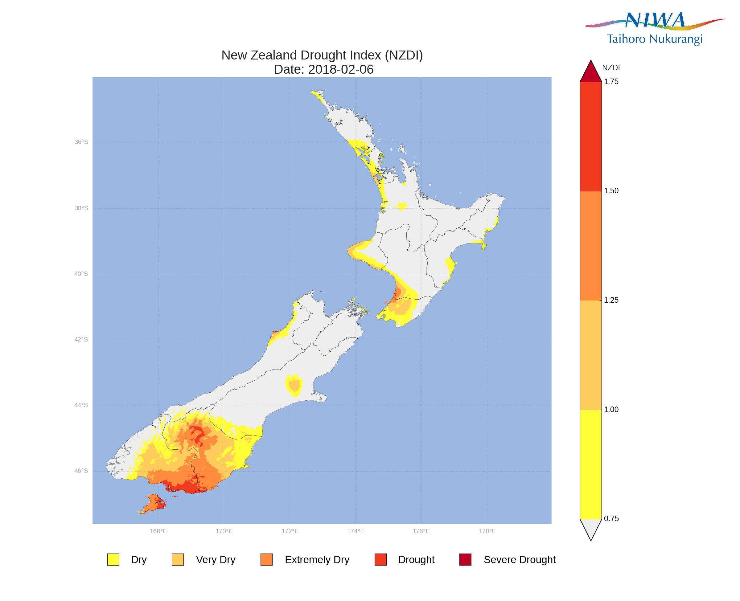 New Zealand Drought Monitor: sistema per tenere traccia delle condizioni di siccità in Nuova Zelanda sulla base di un indice climatico standardizzato