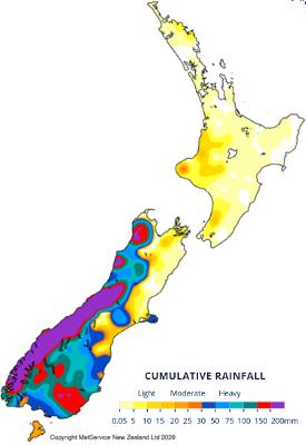 CLAL.it - Pioggia cumulata in Nuova Zelanda 30/01 - 05/02
