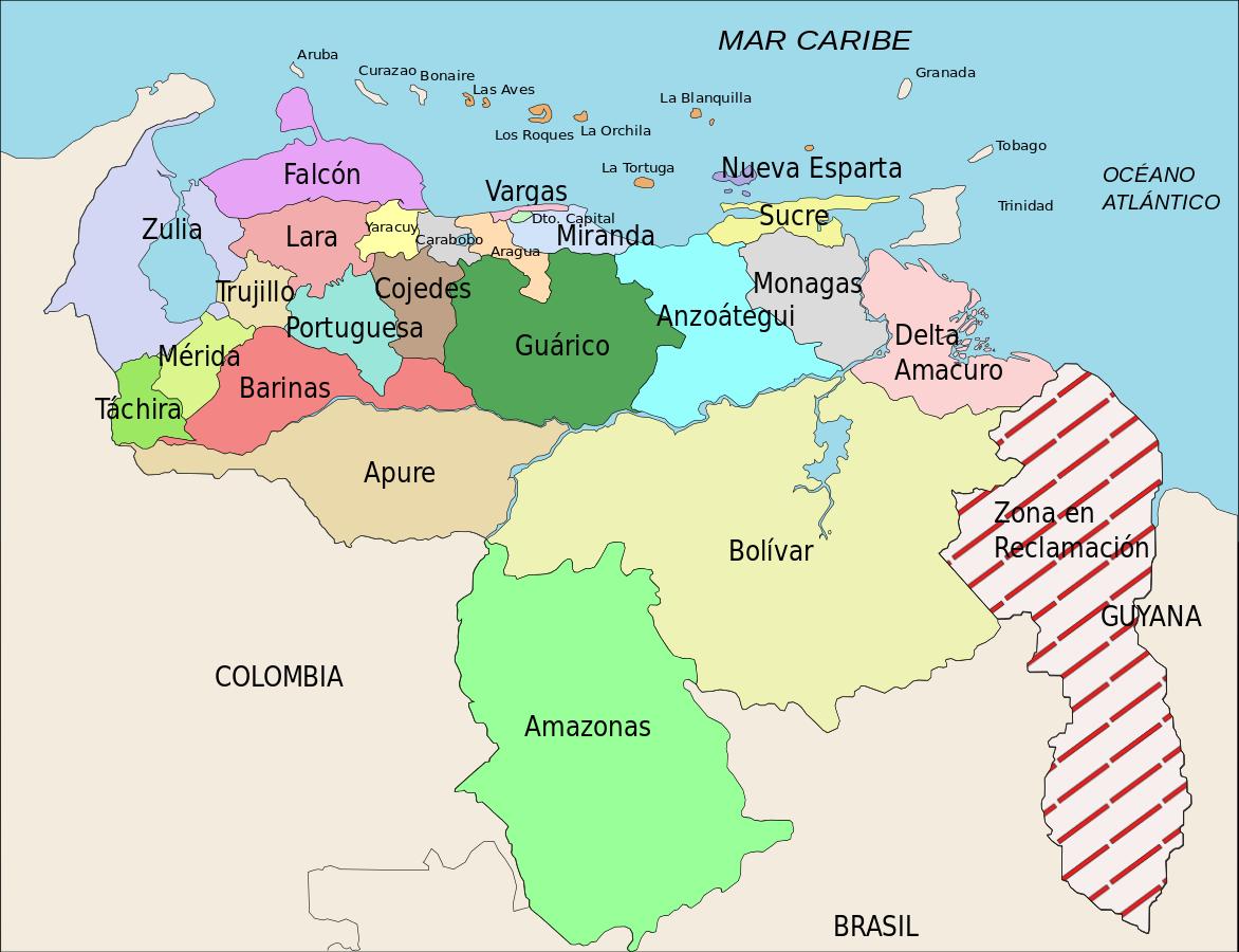Suddivisione territoriale del Venezuela