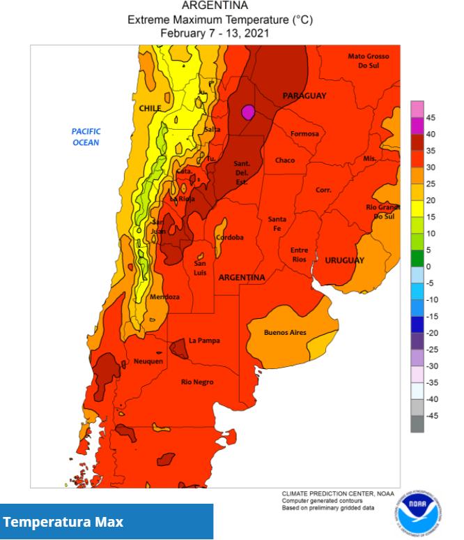 CLAL.it - Temperature Massime in Argentina, 7-13 Febbraio