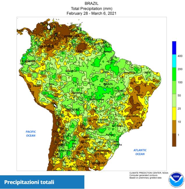 CLAL.it - Precipitazioni in Brasile, 28 Feb - 06 Mar