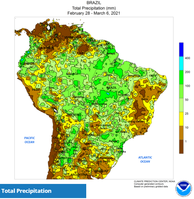 CLAL.it - Brazil Precipitation, February 28 - March 6